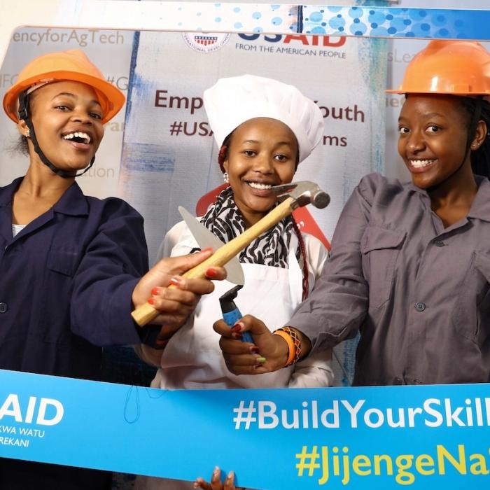 Participants at the Hands on The Future National TVET Skills Show 2019 dressed up in vocational enterprise props at the U.S. Government booth.