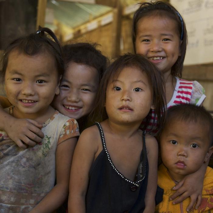 Children enjoy being in school on their day off in Luang Prabang, Laos