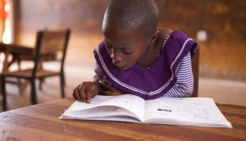 A pupil doing independent reading