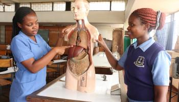 Third-year nursing students at the Kenya Medical Training College, Kisumu County.