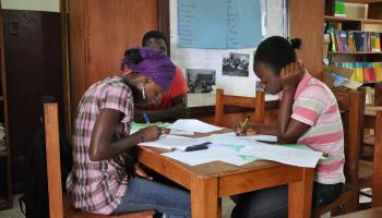 Youths studying at the Learning Resource Center in Buchanan, Liberia.