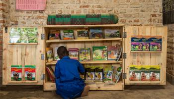 A student chooses a book from a cabinet filled with illustrated children's books in Kinyarwanda language in a second grade classroom at a school in Rwanda.