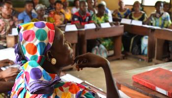 Photo: A USAID-supported training session for teachers in Mbandaka, northern DRC.