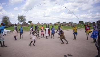 Children play together in a Child Friendly Space (CFS) operated by Save the Children in Waat, South Sudan.
